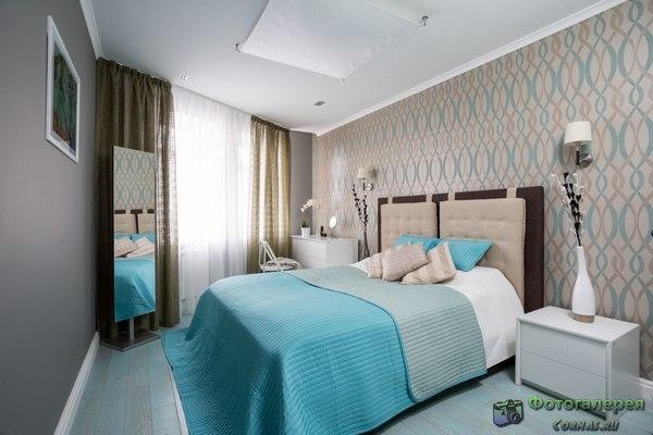 Дизайн спальни 12 кв.м обоями