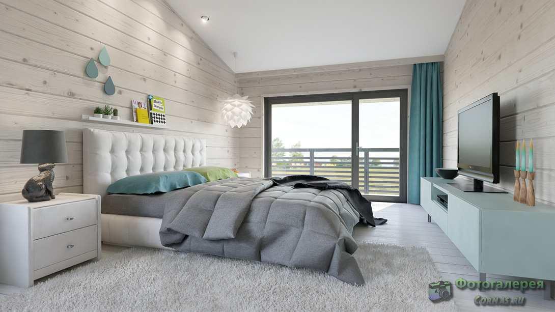 Интерьер спальне в доме из бруса