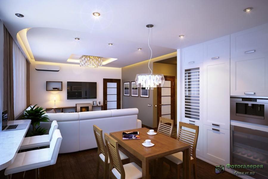 Кухня совмещенная с гостиной дизайн фото 18 кв.м