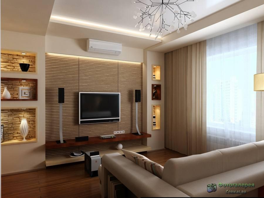 Интерьер гостиной в трехкомнатной квартире фото