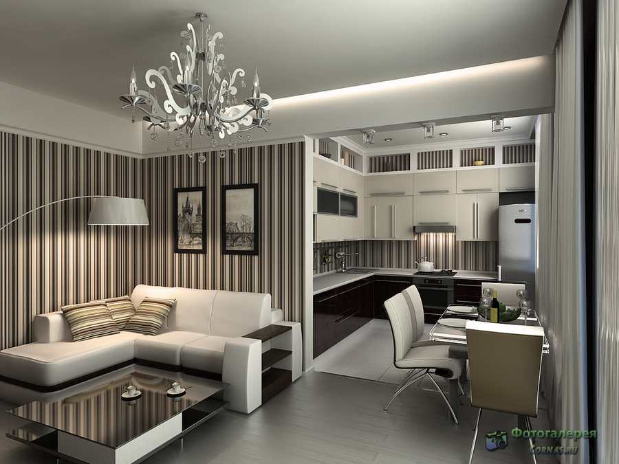 совмещенная кухня с гостиной фото 18 кв.м