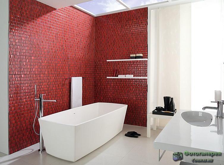Оформление ванной в черно, бело красных цветах.
