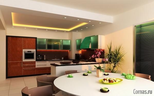 Дизайн потолка кухни и гостиной