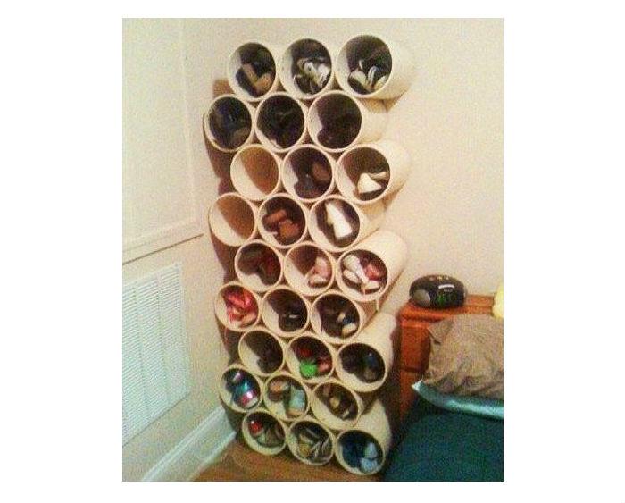 Обувная полка из пластиковых труб своими руками фото 60