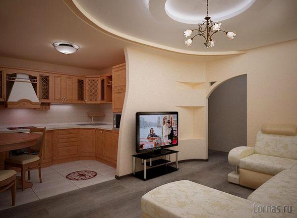 Дизайн кухни-гостиной 20 кв.м фото с зонированием