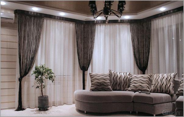 Варианты дизайна штор для гостиной