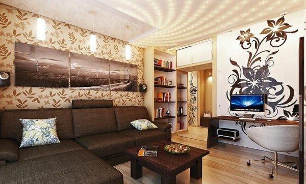 Дизайн комнаты с коричневыми обоями фото