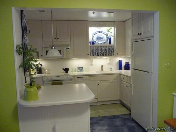 Дизайн кухни 7 кв.м с холодильником