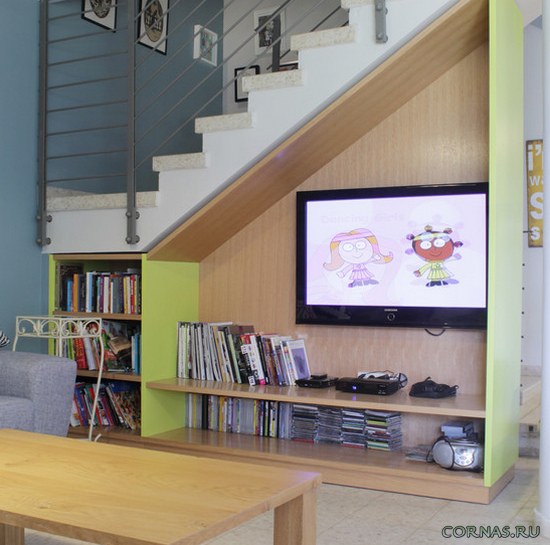 Пространство под лестницей ; идеи оформления прихожей