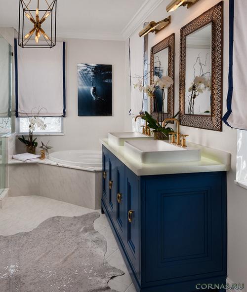 Синяя мебель в ванну sanfor мебель для ванной