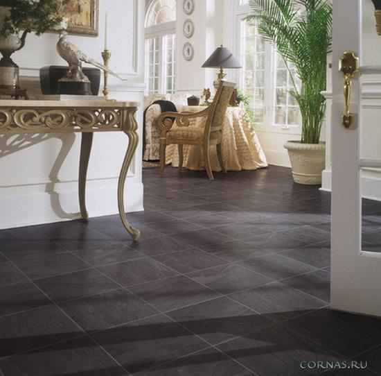 White laminate floor tiles