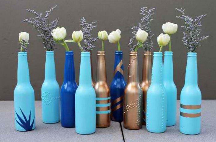 Как вазу из стеклянной бутылки своими руками