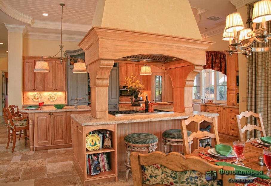 Дизайн кухни в загородном доме фото. Кухня в деревенском стиле, кантри