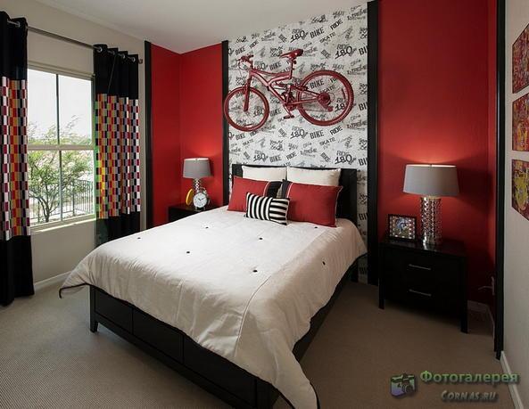 Сочетание цветов в интерьере: элегантный красный, белый и черный