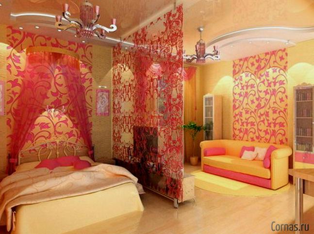 Зонирование комнаты на спальню и гостиную