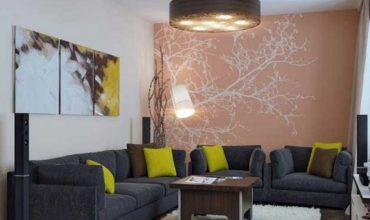 Комбинирование обоев в гостиной: идеи  фото