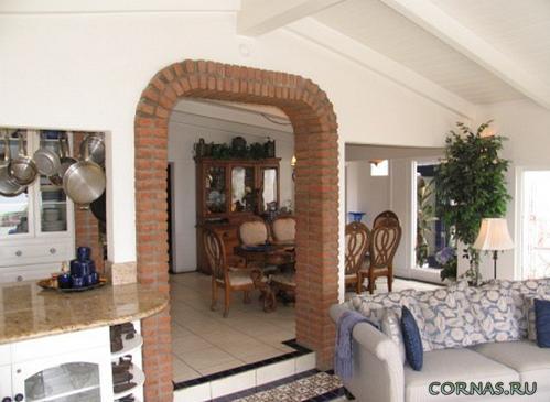 Отделка арки декоративным камнем: фото в интерьере