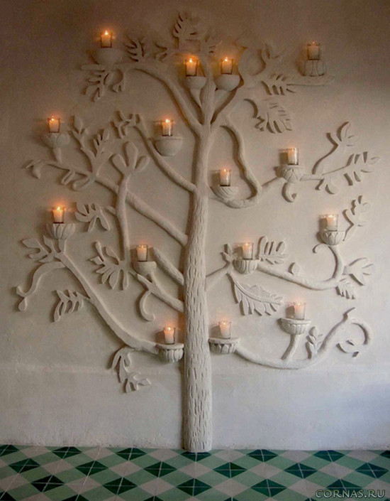 Дерево на стене - отличная идея для украшения интерьера