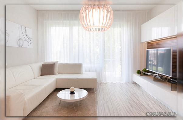 Оформление окна в гостиной шторами - дизайн, форма и цвет.