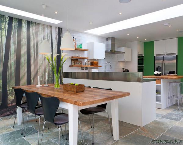 Дизайн кухни с фотообоями