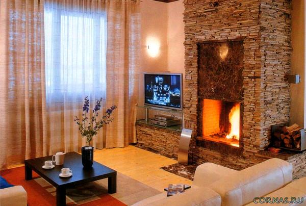 Камень в интерьере гостиной фото
