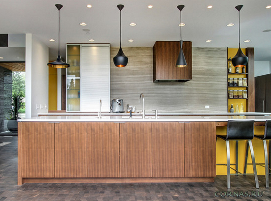 Кухни без верхних шкафов - фото дизайна