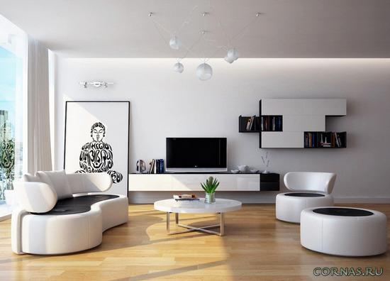 Гостиная в современном стиле -  детали реализации