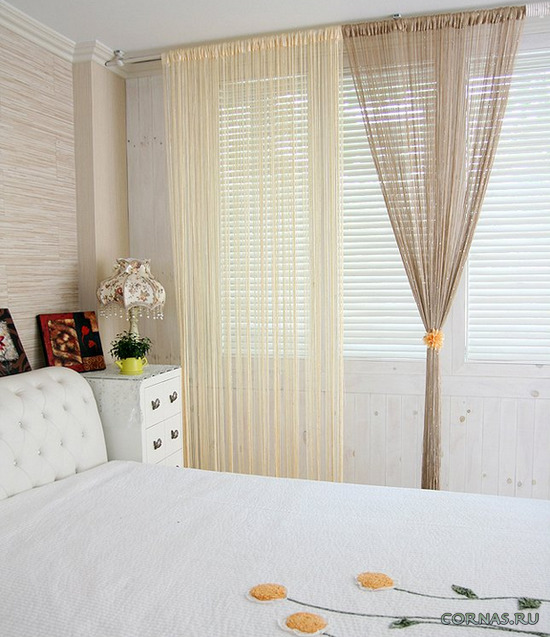 Кисея - стильные веревочные шторы в интерьере. Фото