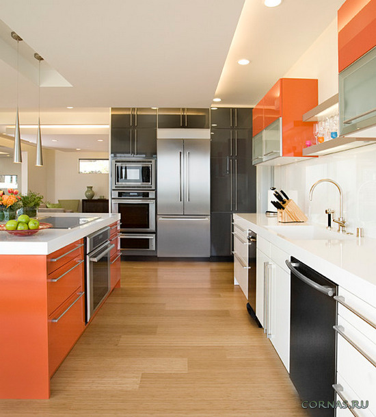 Глянцевая кухня - достоинства и недостатки. Фото интерьера