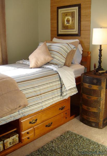 Современная кровать с ящиками - эргономика и удобство в одном!Фото.