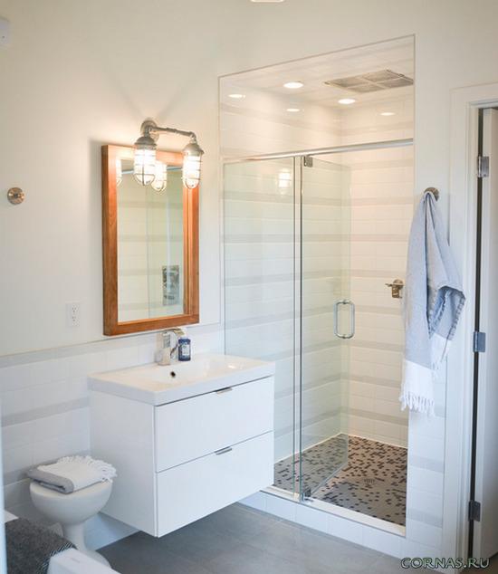 Комфортный интерьер и стильный дизайн душевой комнаты. Фото