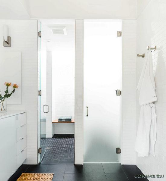 Современные стеклянные двери для ванной и туалета. Фото