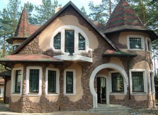 Отделка фасадов частных домов - 42 фото.