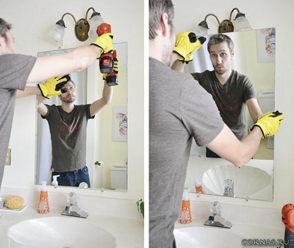 Как повесить зеркало в ванную?