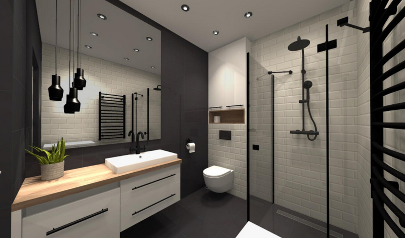 Черно-белая ванная комната - 115 фото нестандартного дизайна