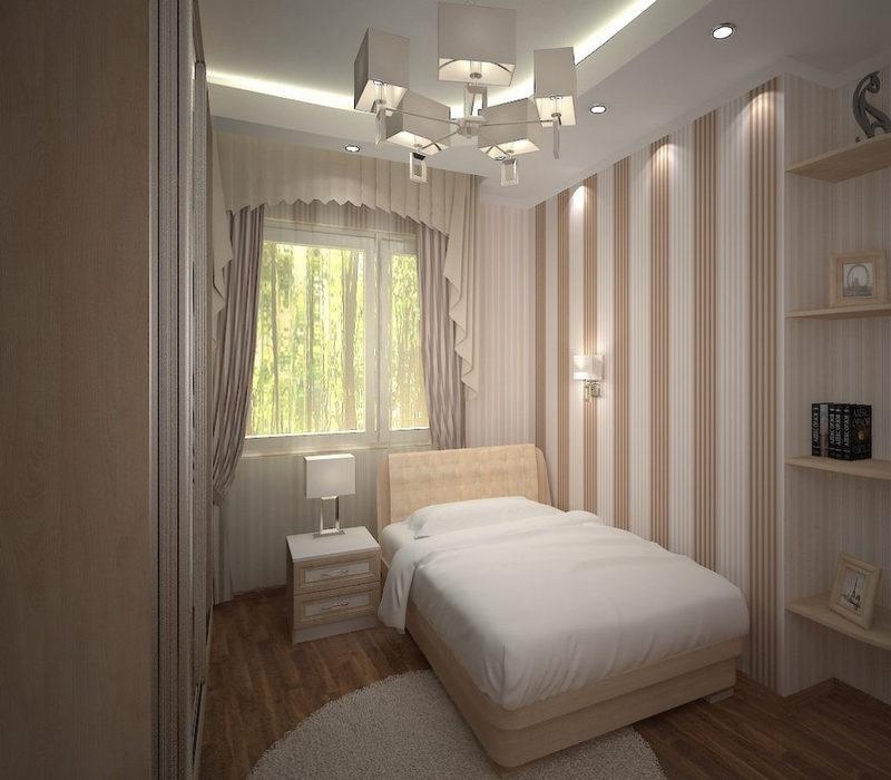 Дизайн узкой спальни в трехкомнатной квартире фото